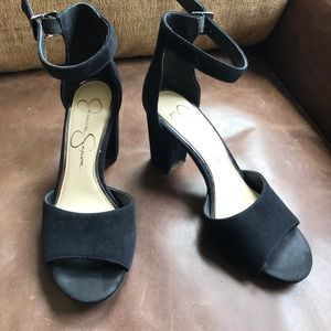 Black suede block heel sandals